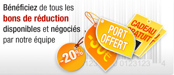 B&eacute;n&eacute;ficiez de tous les bons de r&eacute;duction disponibles et n&eacute;goci&eacute;s par notre &eacute;quipe